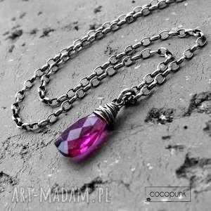 naszyjnik kropla - srebro i kwarc fuksjowy, minimalistyczny, różowy, komplet