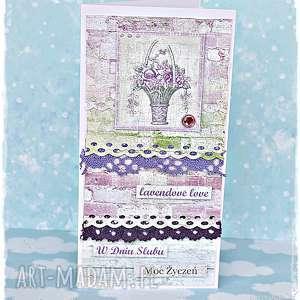 Prezent Lawendowe Love - karta ślubna, kartka, ślub, młodej, parze, prezent