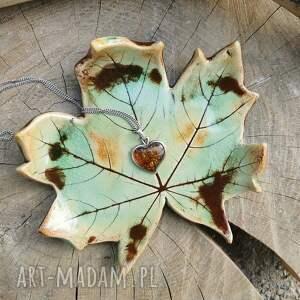 ręcznie wykonane ceramika ceramiczny talerzyk, liść klonu (c255)