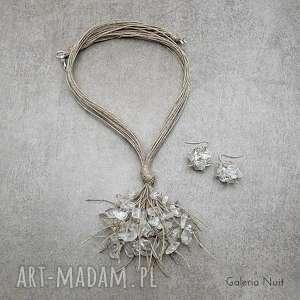 kryształ górski - komplet lnianej biżuterii, naturalne, boho, ekologiczne