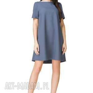 sukienka trapezowa z krótkim rękawem, t203, brudny niebieski, sukienka
