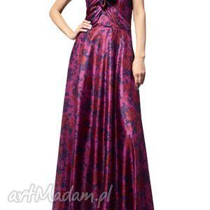 Długa suknia jedwabna - amaratnt z granatem, jedwab, zwiewna, wieczorowa, koktajlowa