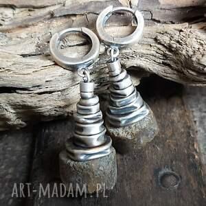 kolczyki srebrne z surowym bursztynem, wiszące, bursztyn bałtycki