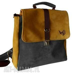 na ramię plecak teczka żółto-szara, plecak, torba, teczka, zamsz, skórzany, oldschool