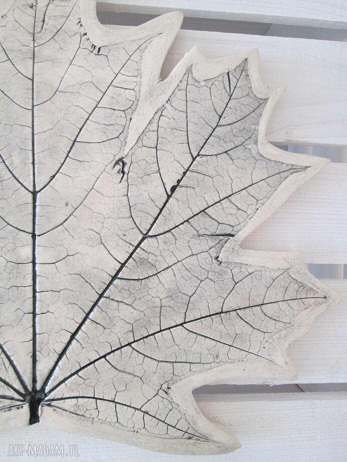 beżowe ceramika ceramiczna patera liść
