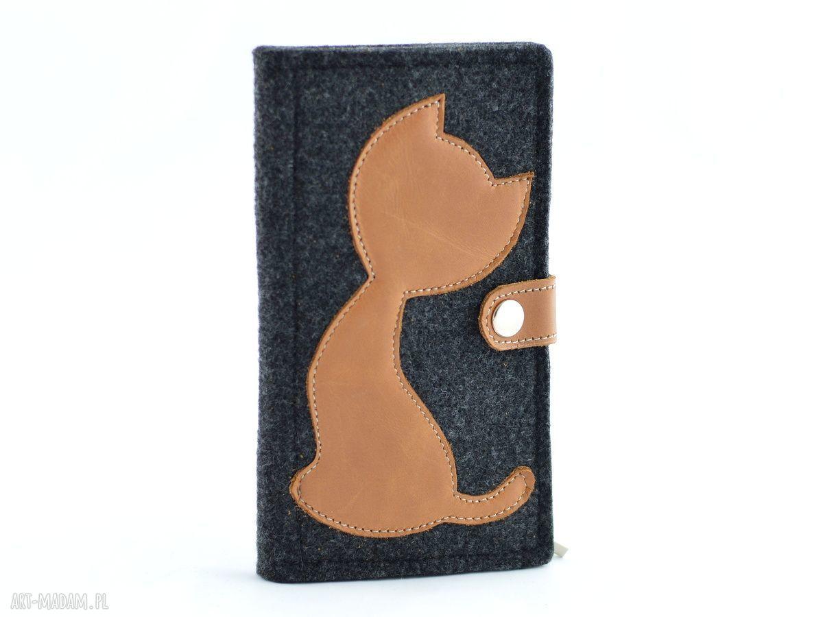 eleganckie portfele portfel filcowy ze skórzanym kotem