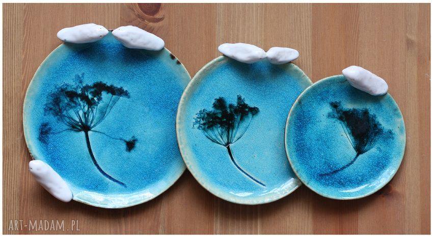 ręcznie robione ceramika komplet turkusowych talerzyków