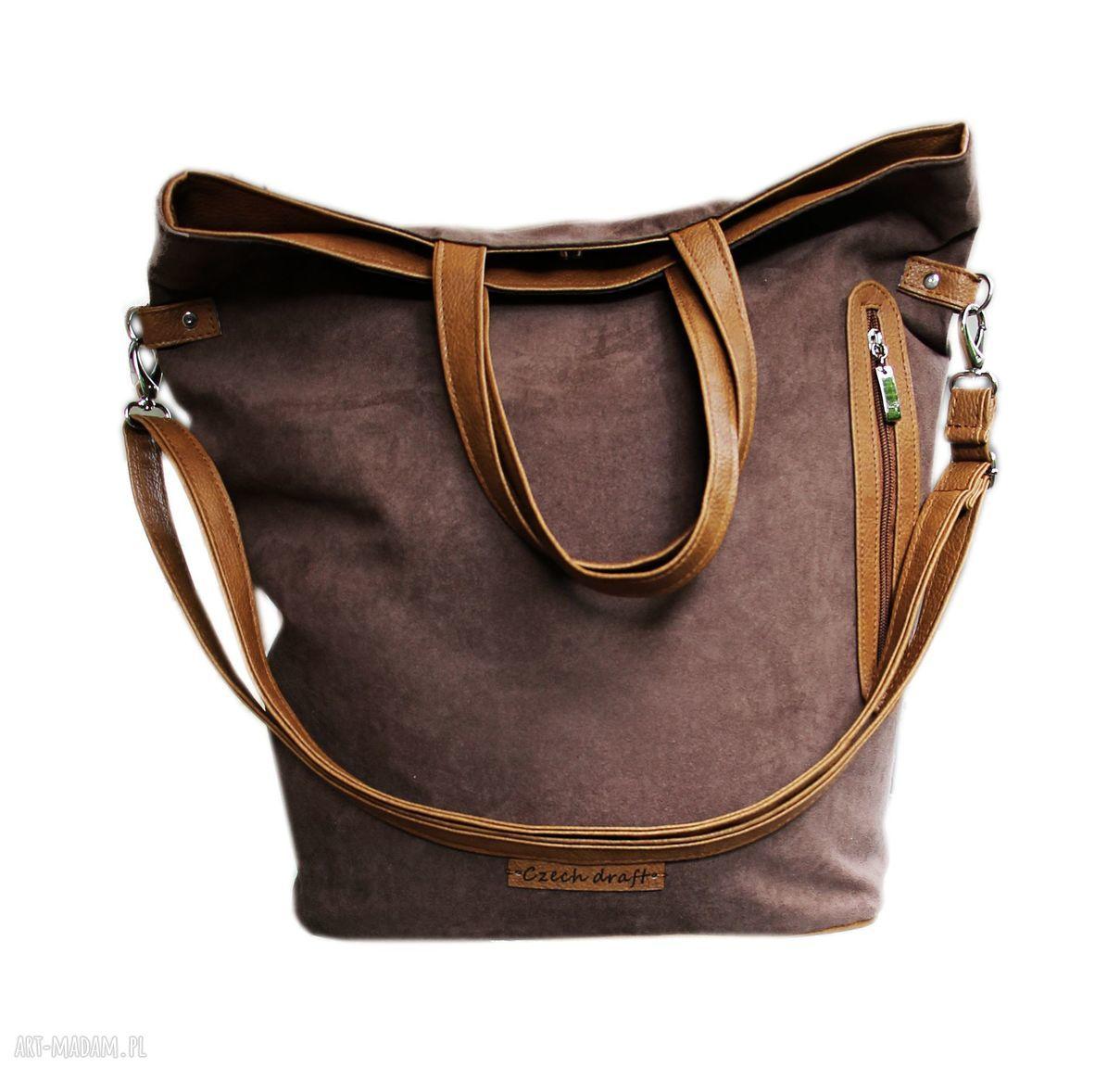 torebki torba brązowy zamsz