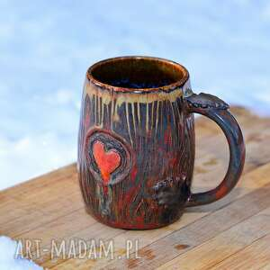 hand-made kubki handmade kubek kamionkowy   leśne serce męski 400