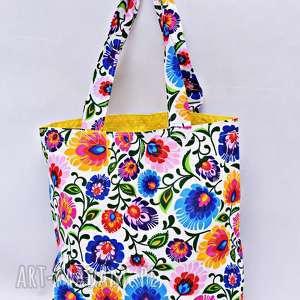 Torba na zakupy Shopperka biały łowicz żółta podszewka, torba, shopperka,