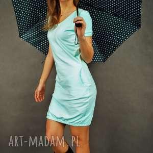 Sukienka dresowa Bubble Gum w kolorze miętowym- krótki rękaw, z-kieszeniami