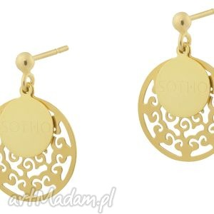 złote modowe orientalne pozłacane kolczyki sztyfty arabskie, złoto