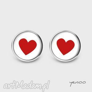 Prezent Kolczyki - Serce czerwone sztyfty, grafika, kolczyki, serce, wkrętki