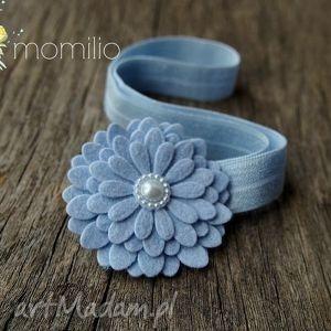 kwiatek z perełką błękitny opaska do włosów, kwiatek, elegancka, uroczystość