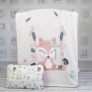 zestaw 75x100 kocyk płaska poduszka fox, zestaw, łóżeczka, wyprawka, niemowlęca