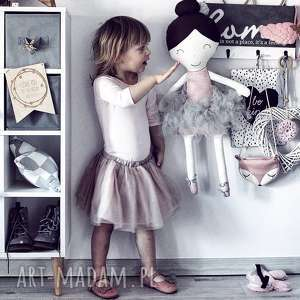 Lalka ręcznie robiona Melania XL (Szare dodatki), bawełna, lalka, lalki, baletnica