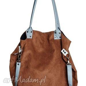 na ramię worek brown blue, handmade, brąz, błękit, ekoskóra