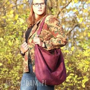 Duża torba worek z zamszu ekologicznego w kolorze śliwkowym , fioletowa, torebka