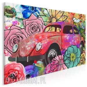 obraz na płótnie - garbus kwiaty hippie 120x80 cm (36201)