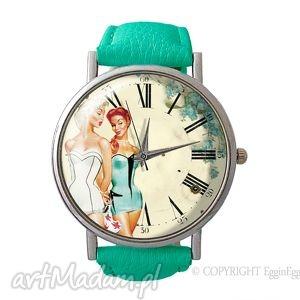 vintage girls - skórzany zegarek z dużą, kobiecy, retro