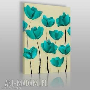 obraz na płótnie - turkusowe kwiaty - 50x70 cm 03101 - kwiaty, łąka