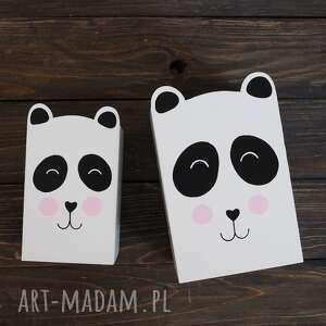 mały - pojemnik na kredki - panda, pudełko na kredki, pudełko na przybory