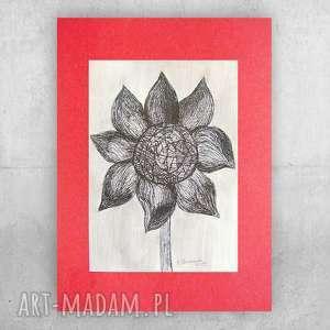 czarno biała grafika z kwiatem, biało czarny rysunek, nowoczesna do pokoju, oryginalny