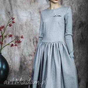 Rozkloszowana sukienka z haftowaną koronką, rustic, dress, bawełna, wiskoza