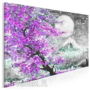 obraz na płótnie - japonia wiśnia pejzaż fioletowy fuksja 120x80 cm 89905