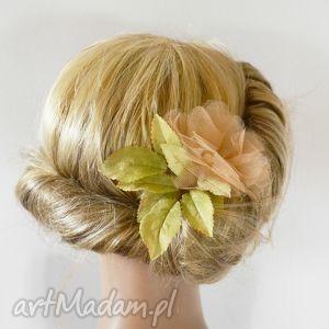 kwiat beż, kwiat, spinka, tiul ozdoby do włosów