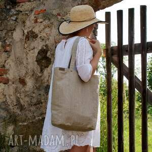 na ramię shopper len, shopper, torebka, torba, lato, natura, pod choinkę