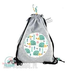 Worek-plecak wodoodporny z dresu jeże, worek, plecak, kapcie, szkoła, jeże
