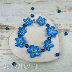 bransoletka niezapominajki, kwiaty, biżuteria-kwiatowa