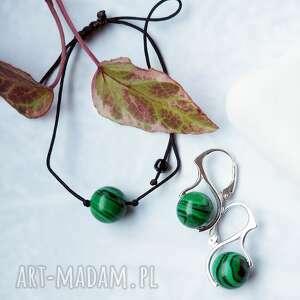silvella komplet biżuterii bransoletka i srebrne kolczyki z malachitem - idealne