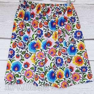 Spódniczka ŁOWICZ biała, łowicz, bawełniana-spódnica, wzór-łowicki, kolorowe-kwiaty,