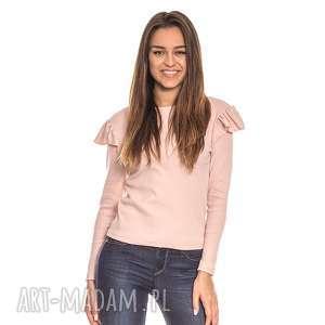 różowa bluzka damska z falbanką na rękawie, falbanka, elastyczna, prążki