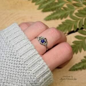 pierścionek regulowany lapis lazuli stal chirurgiczna
