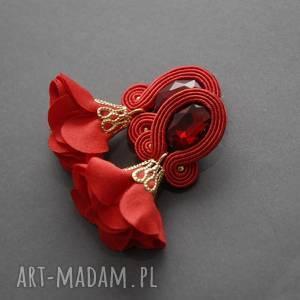 pod choinkę prezent, klipsy sutasz z kwiatkiem, sznurek, eleganckie, wiszące