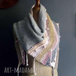 chustki i apaszki asymetryczna chusta, szal, wełniana, na drutach