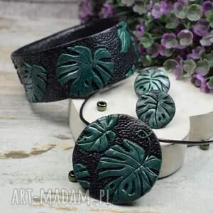 komplet biżuterii monstera, biżuteria liście