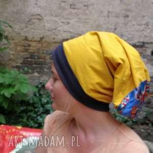 ręczne wykonanie czapki czapka damska zółta dzianina wiosenna bardzo długa duza kolorowa
