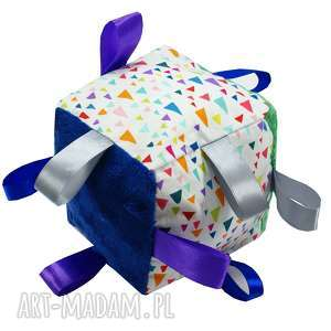 kostka sensoryczna, wzór remix - dziecko, kostka, zabawka, prezent, babyshower