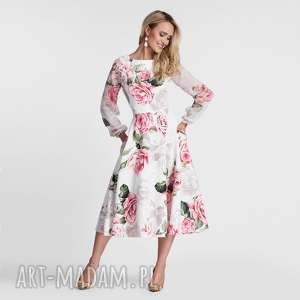sukienki sukienka aniela total midi rosanna, sukienka, midi, kwiaty