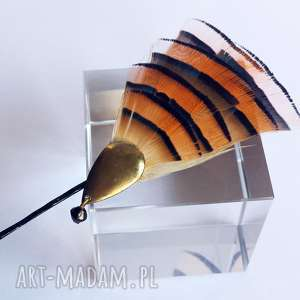 wsuwka z dopinką piór - pomarańczowa moc, pióra, boho, wsuwka, złoto, ślub