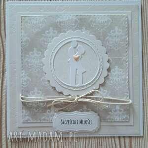 ręcznie wykonane scrapbooking kartki kartka dla młodej pary z perłowym