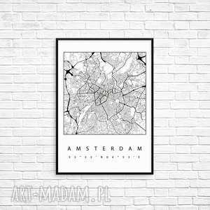 grafika amsterdam, grafika, mapa, prezent, rama, miasto