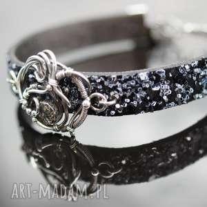 black diamond - srebro, wire, wrapping, rzemień, kwarc, rutyl