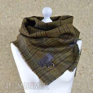 handmade szaliki wełna z jedwabiem, chusta, ponczo, szal - zieleń