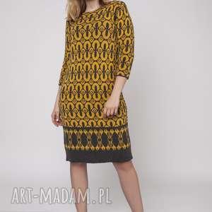 Sukienka we wzory, SUK005 grafit/żółty MKM, dzianinowa, midi, wzór, jesień, tunika