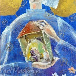 Być szczęśliwym w domu, obraz, 4mara, marinaczajkowska, aniołstróż, dom, anioł
